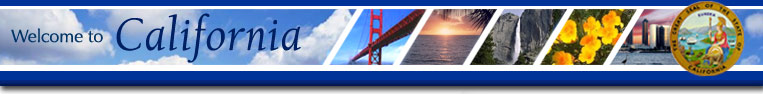 Welcome to California picture montage consisting of images of the Golden Gate Bridge, ocean sunset, Yosemite Falls, poppy flowers, San Diego skyline, and state seal.