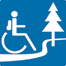 Accessible Trails icon with wheelchair user (ISA) on trail