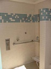 Spacious accessible showers at the Madrone Group Campground include easily reachable controls.