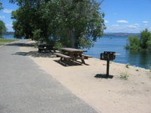 A lakeside picnic area at the Beals Point area features accessible tables.